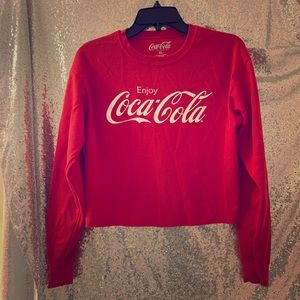 Red crop long sleeve tee CocaCola